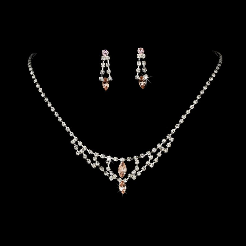 Silver Pink Crystal Chandelier Necklace Earring Set
