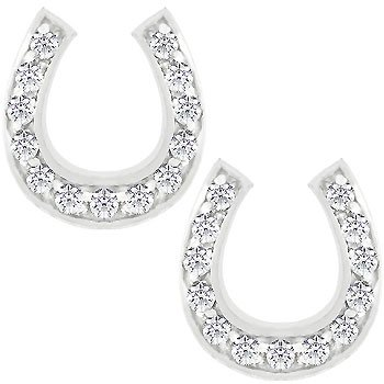 NEW White Gold Rhodium Bonded CZ Horseshoe Stud Earring