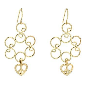 NEW 14K Gold Golden Heart Dangle Earrings