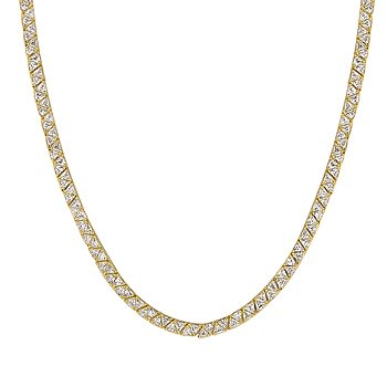 NEW 14K Gold Necklace Pronged Trillion Cut Clear