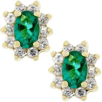 NEW 14K Gold CZ Emerald Flower Stud Earrings