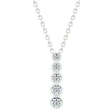 NEW White Gold CZ Journey Pendant Necklace