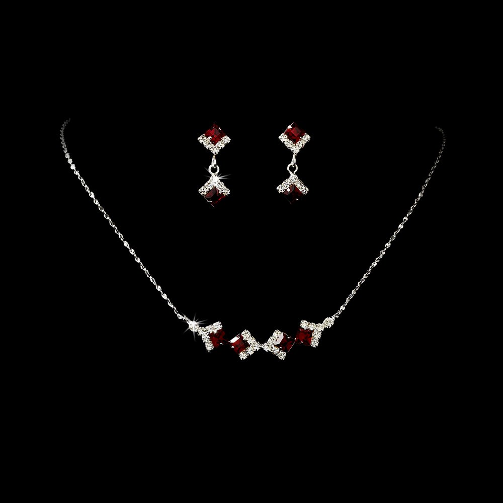 Silver Red Clear Crystal Square Necklace Earring Set