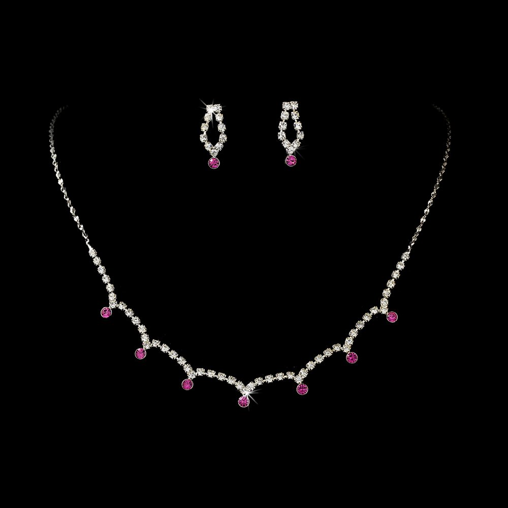 Silver Fuchsia Clear Crystal Necklace Earring Set