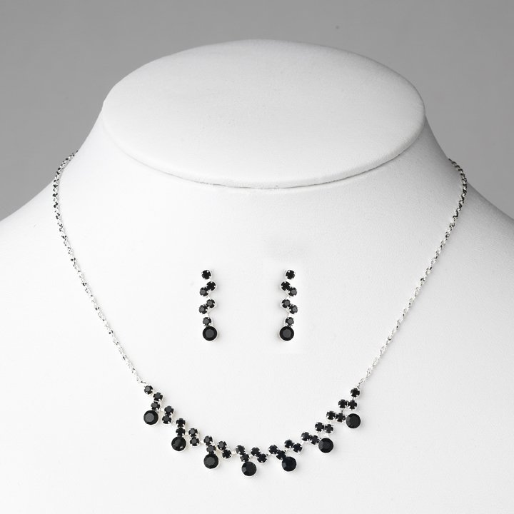 Silver Black Crystal Accented Necklace Earring Set