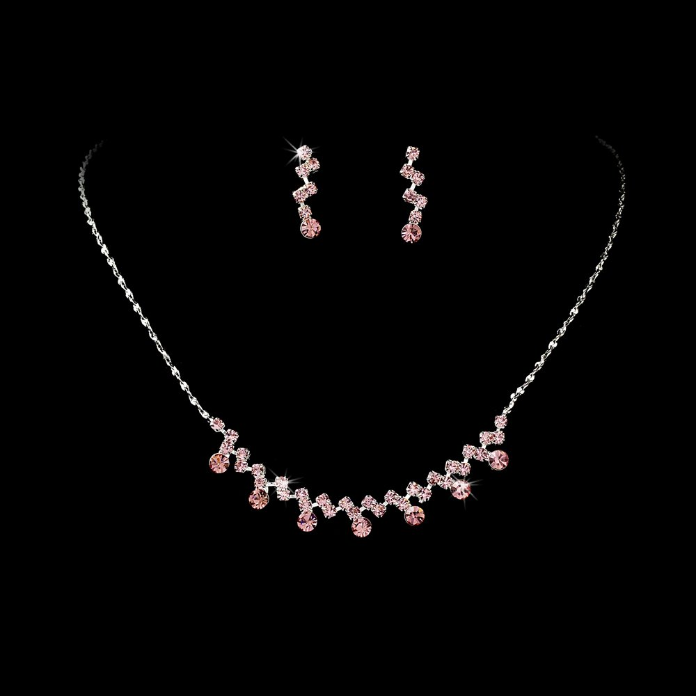 Silver Pink Crystal Accented Necklace Earring Set