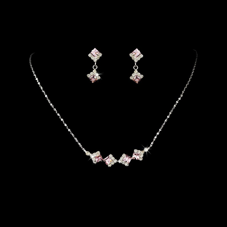 Silver Pink Clear Crystal Square Necklace Earring Set