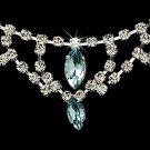 Silver Light Blue Chandelier Necklace Earring Set