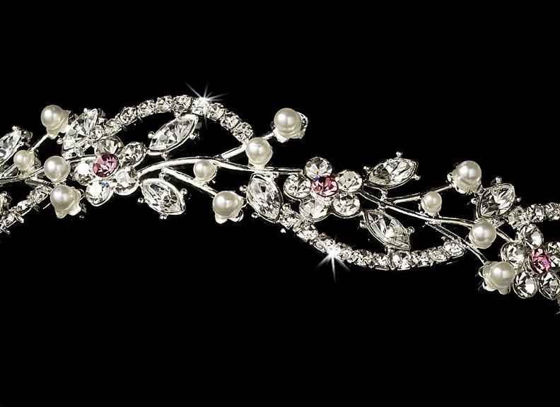 Silver Pink Rhinestone Crystal Floral Tiara Headband
