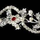 Silver Red Rhinestone Crystal Floral Tiara Headband