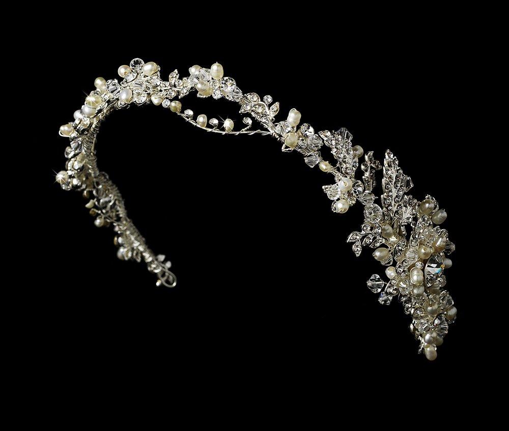 Silver Swarovski Crystal Pearl Vine Headband Tiara