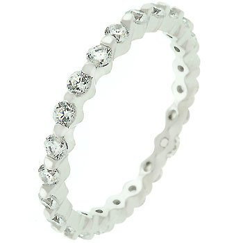 White Gold 925 Sterling Silver CZ Eternity Ring