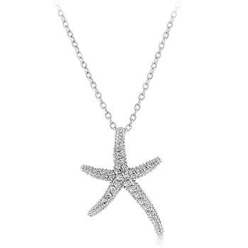 New White Gold Silver CZ Starfish Necklace Pendant