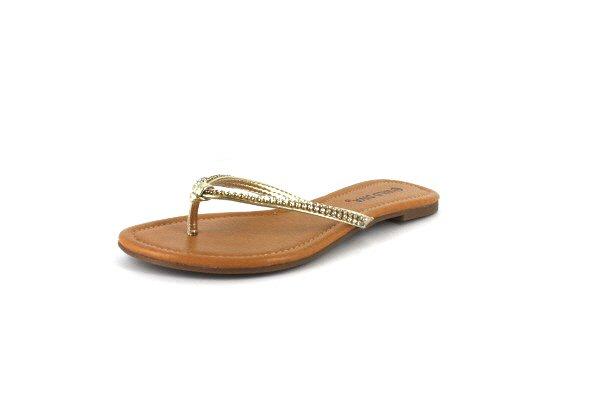 Gold Rhinestone Flip Flop Flat Sandal Shoes