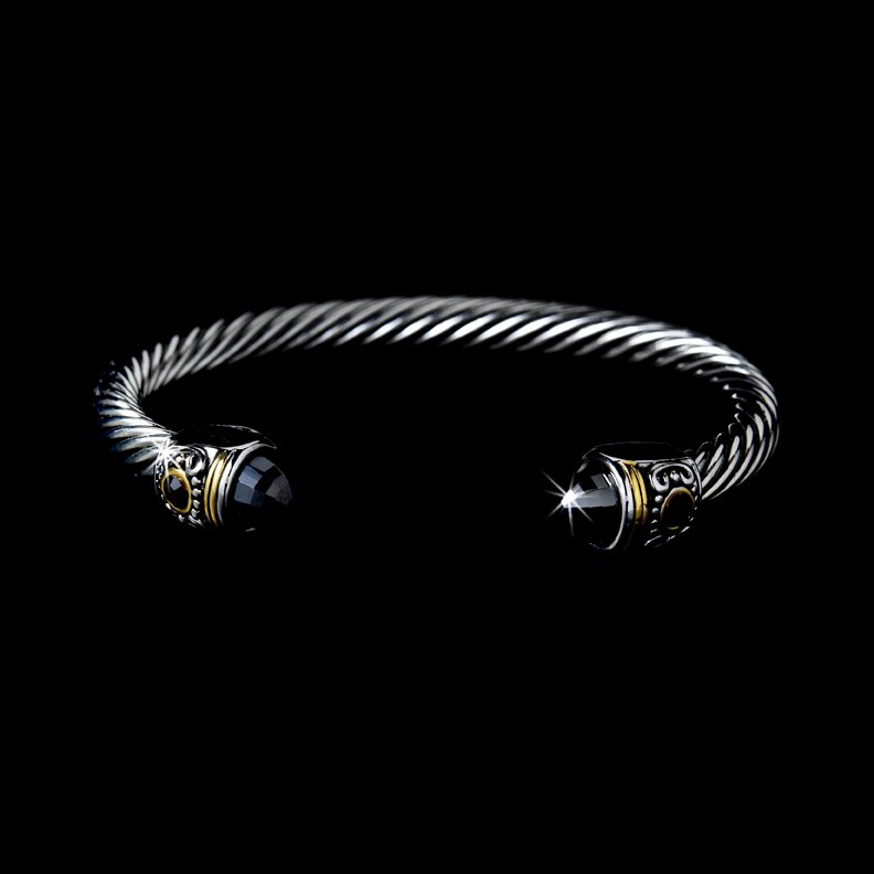 Silver Black Rhinestone Tipped  Bangle Bracelet