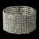 Silver Clear Rhinestone Crystal Stretch Bracelet