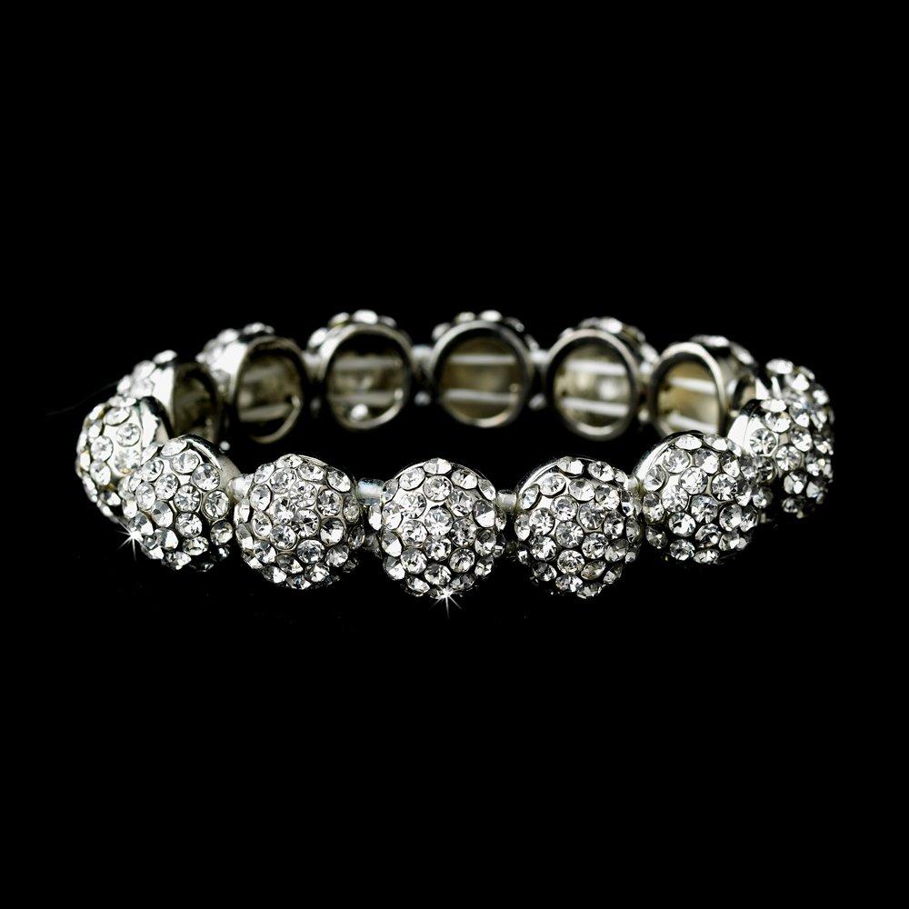 Silver Clear Crystal Round Stretch Bracelet