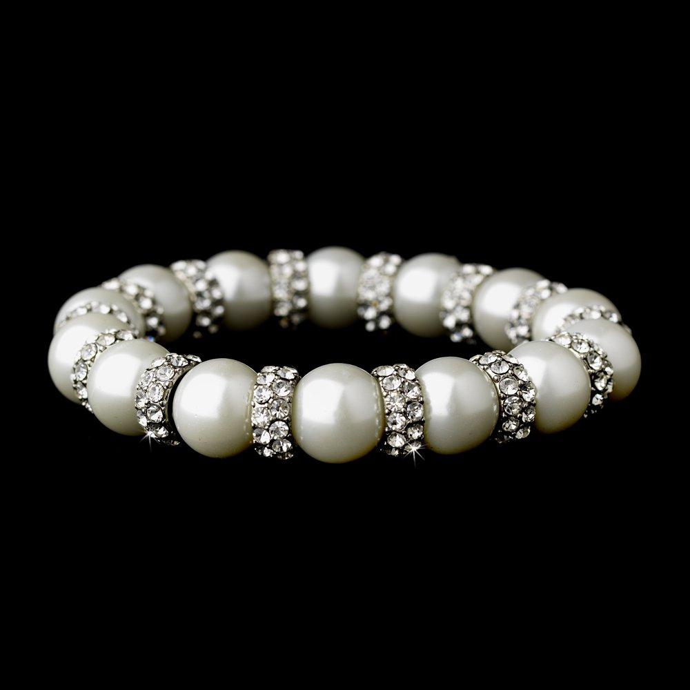 Silver White Pearl Genuine Crystal Stretch Bracelet