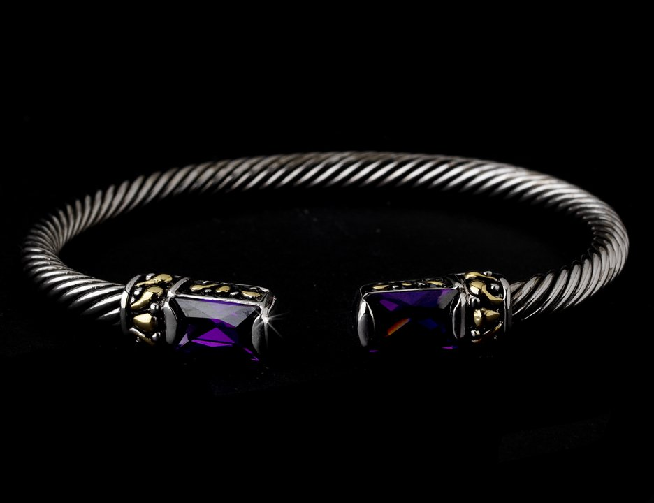 Silver Amethyst Gold Tipped Bangle Bracelet