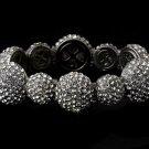 Silver Rhinestone Crystal Round Stretch Bracelet