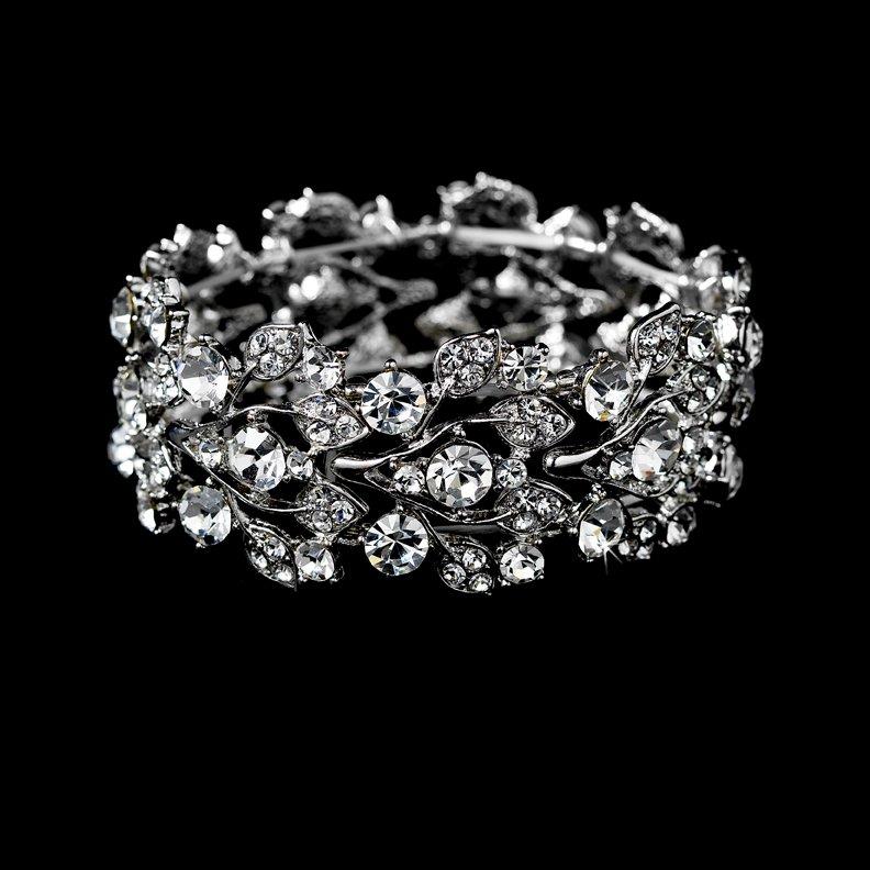 Silver Rhinestone Crystal Leaf Stretch Bracelet