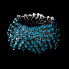 Silver Turquoise Crystal 5 Row Stretch Bracelet
