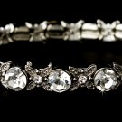 Silver Clear CZ Crystal Bloom Stretch Bracelet