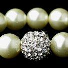 Vintage Silver Ivory Pearl Crystal Stretch Bracelet
