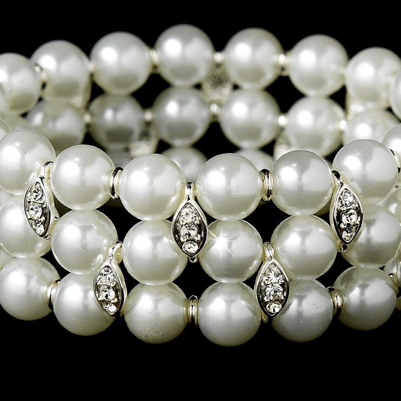 Silver White Pearl Rhinestone Stretch Bracelet