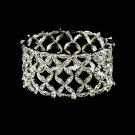 Floral Silver Rhinestone Crystal Stretch Bracelet