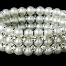 Silver White Pearl Crystal Stretch Bracelet