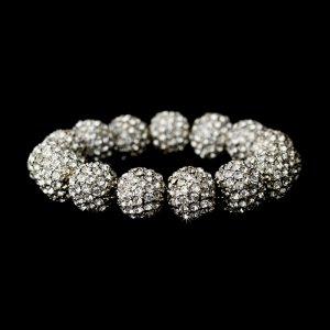 Silver Clear Crystal 12mm Pave Ball Stretch Bracelet