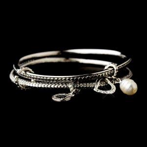 Silver Circle Heart Crystal Pearl Charm Bracelet