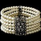 Silver Rhodium Clear Crystal Pearl Stretch Bracelet