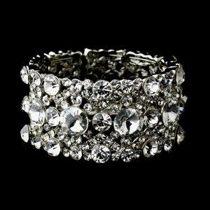 Silver Clear Multi Rhinestone Crystal Stretch Bracelet