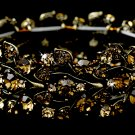 Gold Topaz Rhinestone Crystal Leaf Stretch Bracelet