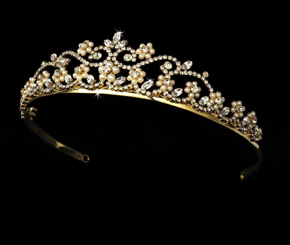 Gold Ivory Pearl Crystal Floral Bridal Tiara