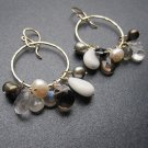 925 Sterling Silver Multi Stone Neutral Hoop Earrings