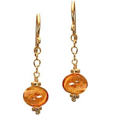 925 Sterling Silver Chain Mandarin Garnet Earrings