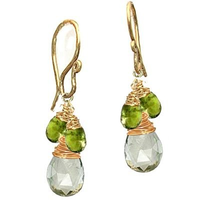 925 Sterling Silver Idocrase Green Amehtyst Earrings