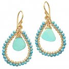 14K Gold Filled Turquoise Hoop Earrings