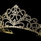 Royal Gold Clear Rhinestone Crystal Bridal Tiara