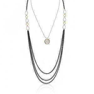 14K Gold Black Rhodium Necklace Floral Pendant
