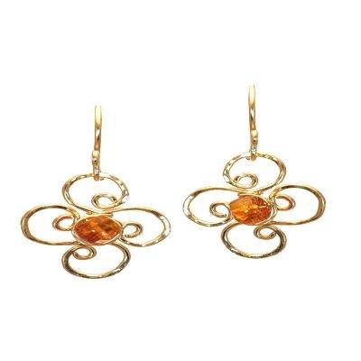 14K Gold Filled Flower Amber Earrings