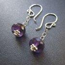 925 Sterling Silver Chain Bead Amethyst Earrings