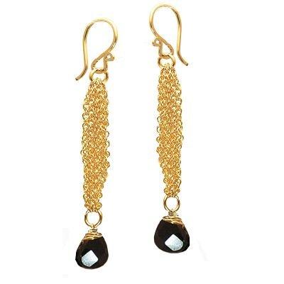 14K Gold Filled Chain Black Spinel Earrings
