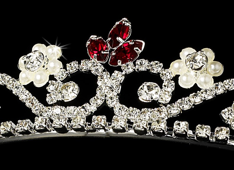 Silver Red Crystal Pearl Floral Bridal Tiara