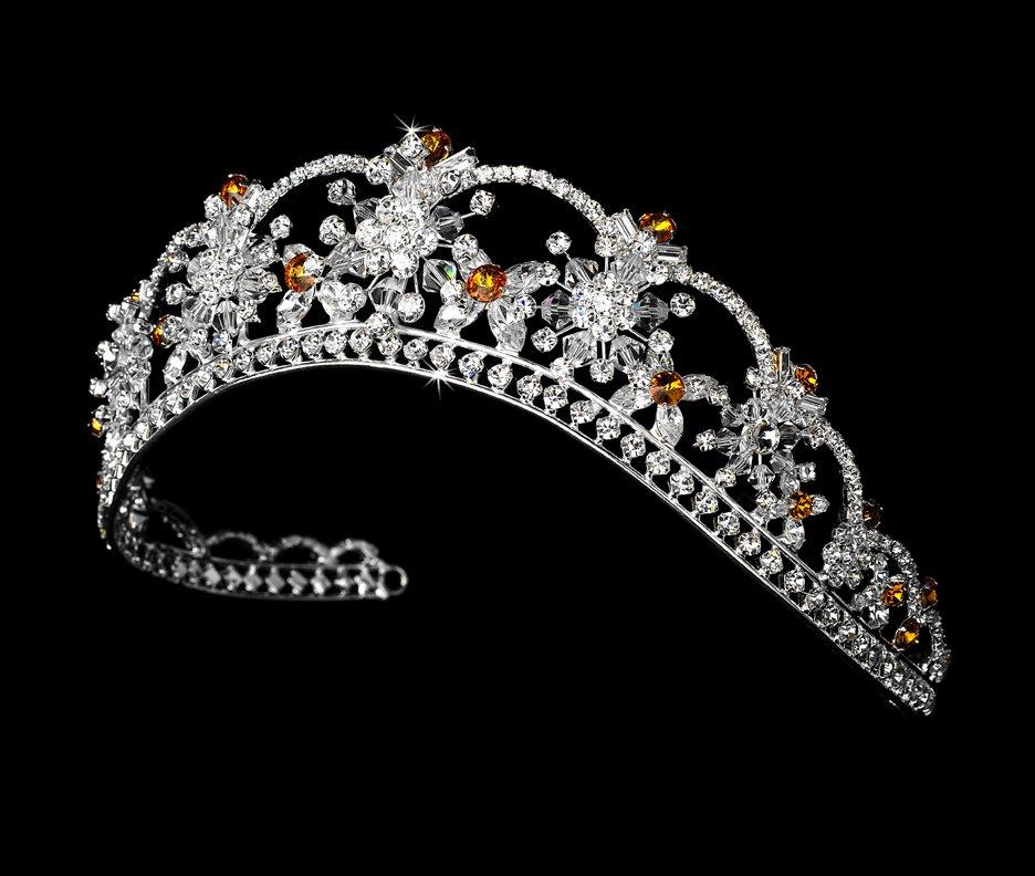 Silver Orange Swarovski Crystal Flower Bridal Tiara