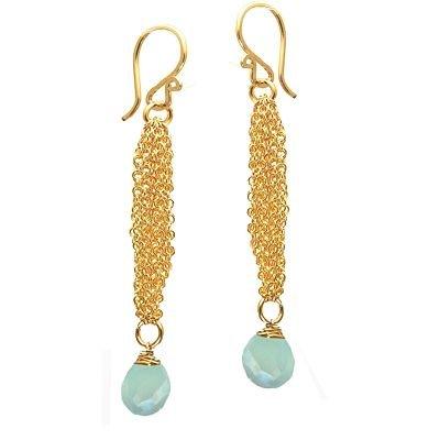 14K Gold Filled Chain Chalcedony Earrings