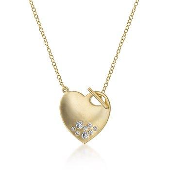 14K Gold Necklace Heart CZ Pendant